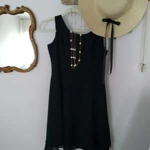 Little black dress. Two tiered lined dress. 6p